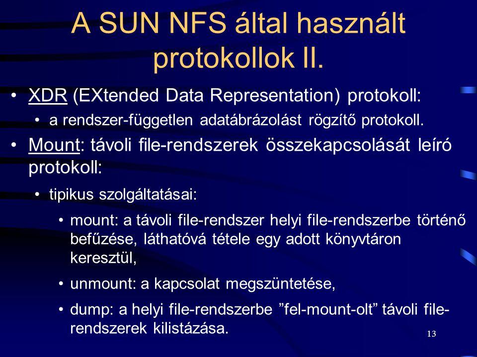 A SUN NFS által használt protokollok II.