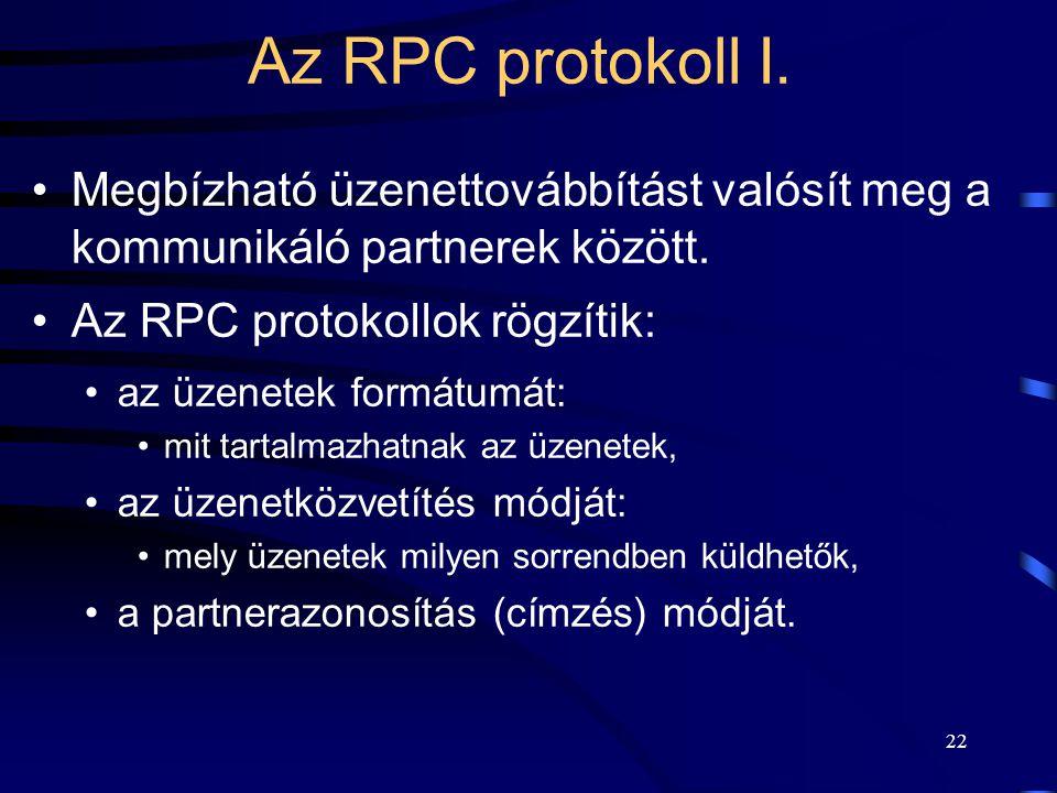 Az RPC protokoll I. Megbízható üzenettovábbítást valósít meg a kommunikáló partnerek között. Az RPC protokollok rögzítik: