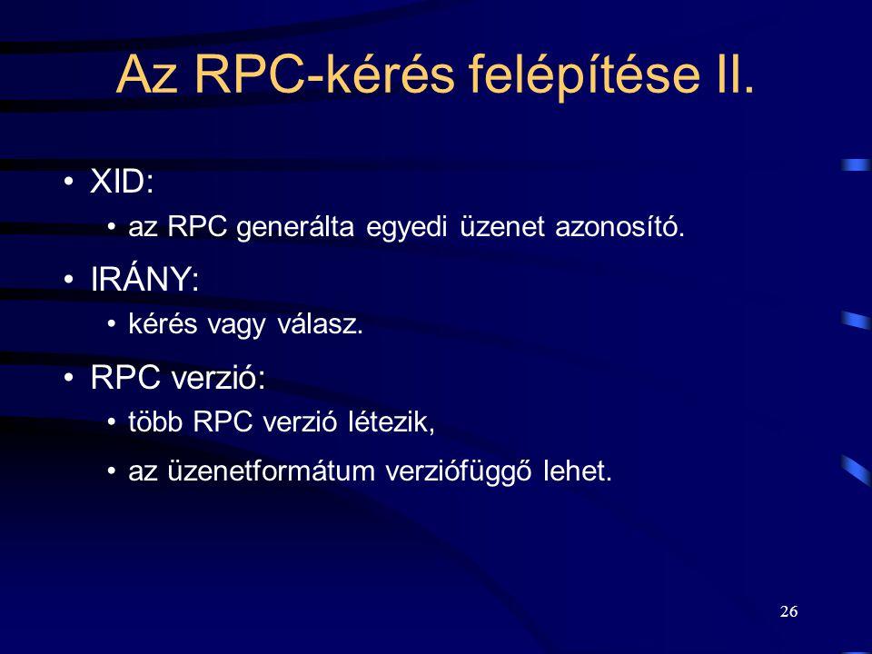 Az RPC-kérés felépítése II.