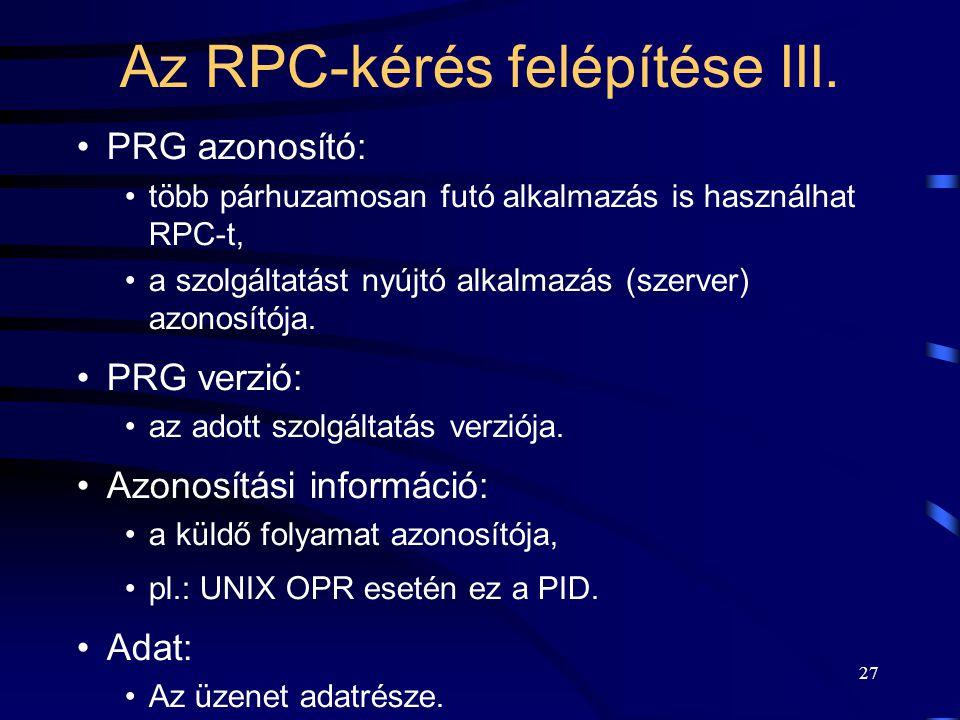 Az RPC-kérés felépítése III.