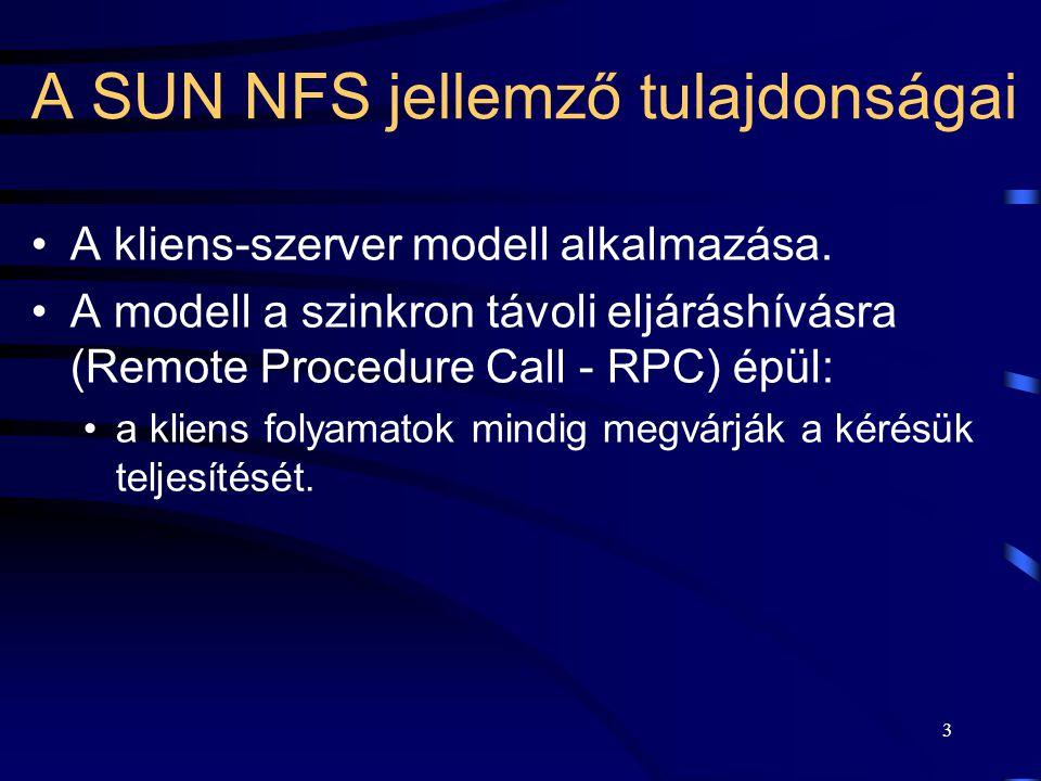A SUN NFS jellemző tulajdonságai