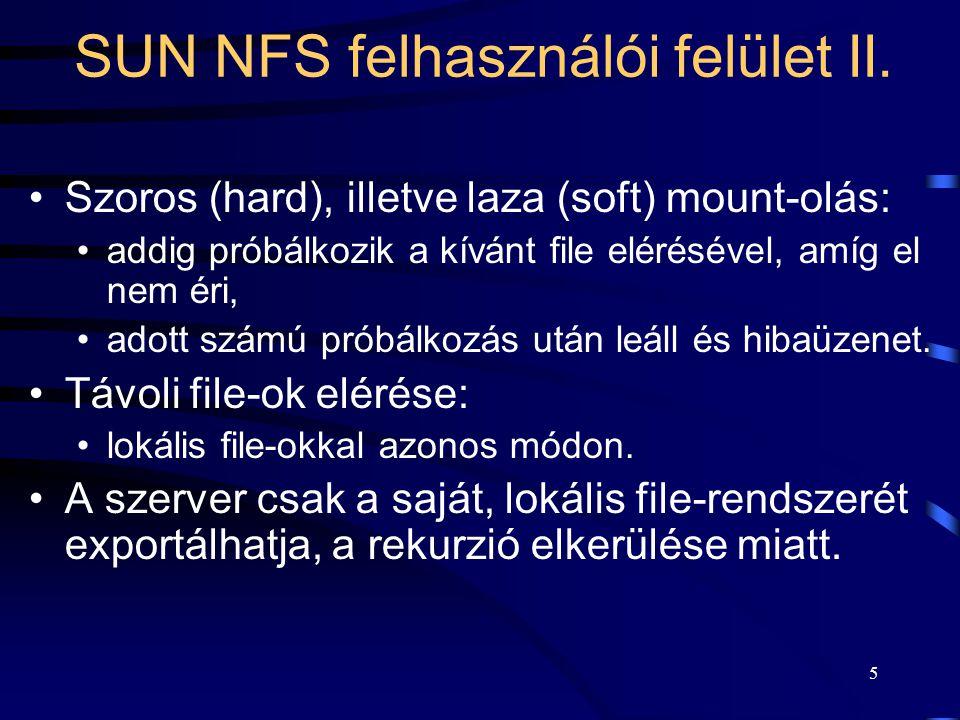 SUN NFS felhasználói felület II.