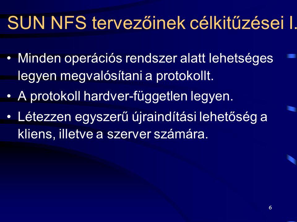 SUN NFS tervezőinek célkitűzései I.