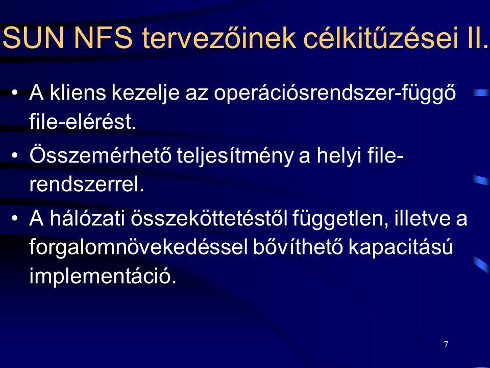 SUN NFS tervezőinek célkitűzései II.