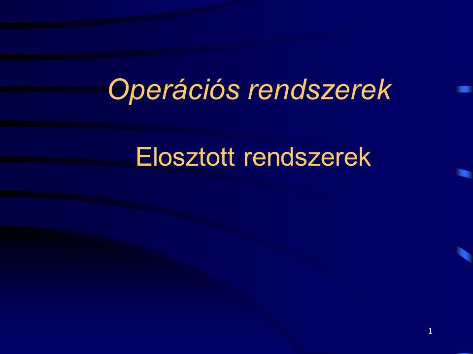 Operációs rendszerek Elosztott rendszerek