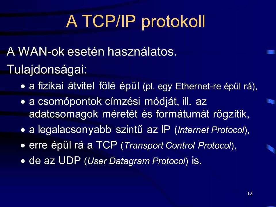 A TCP/IP protokoll A WAN-ok esetén használatos. Tulajdonságai: