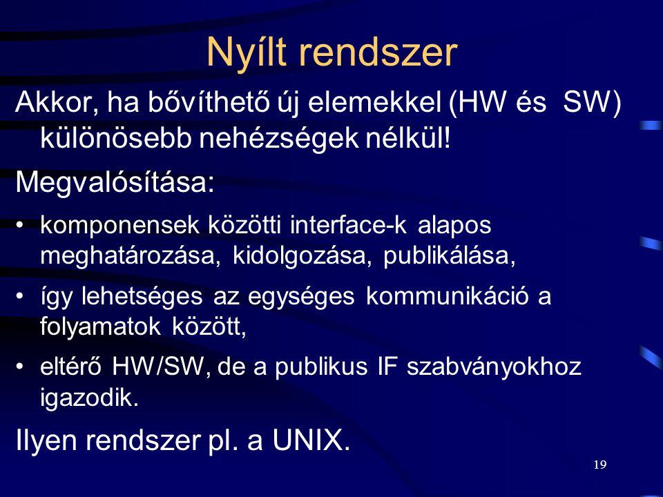 Nyílt rendszer Akkor, ha bővíthető új elemekkel (HW és SW) különösebb nehézségek nélkül! Megvalósítása: