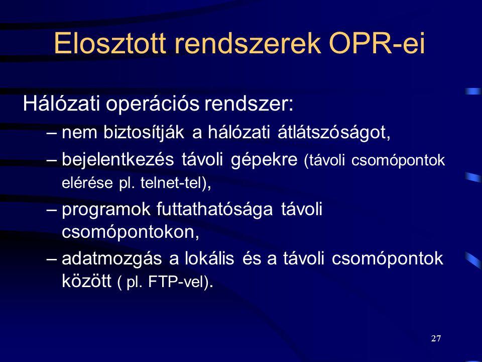 Elosztott rendszerek OPR-ei
