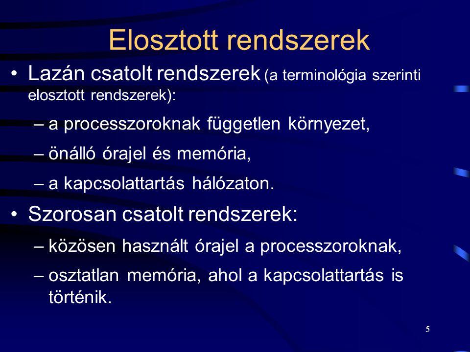 Elosztott rendszerek Lazán csatolt rendszerek (a terminológia szerinti elosztott rendszerek): a processzoroknak független környezet,