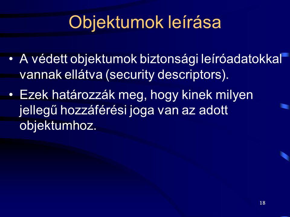 Objektumok leírása A védett objektumok biztonsági leíróadatokkal vannak ellátva (security descriptors).