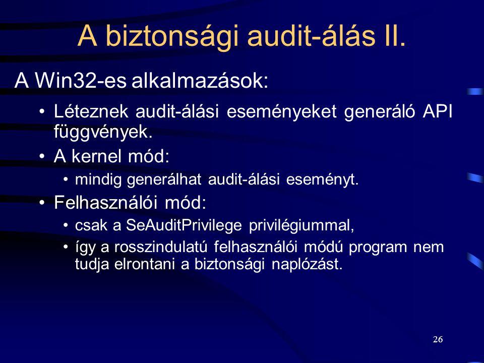 A biztonsági audit-álás II.