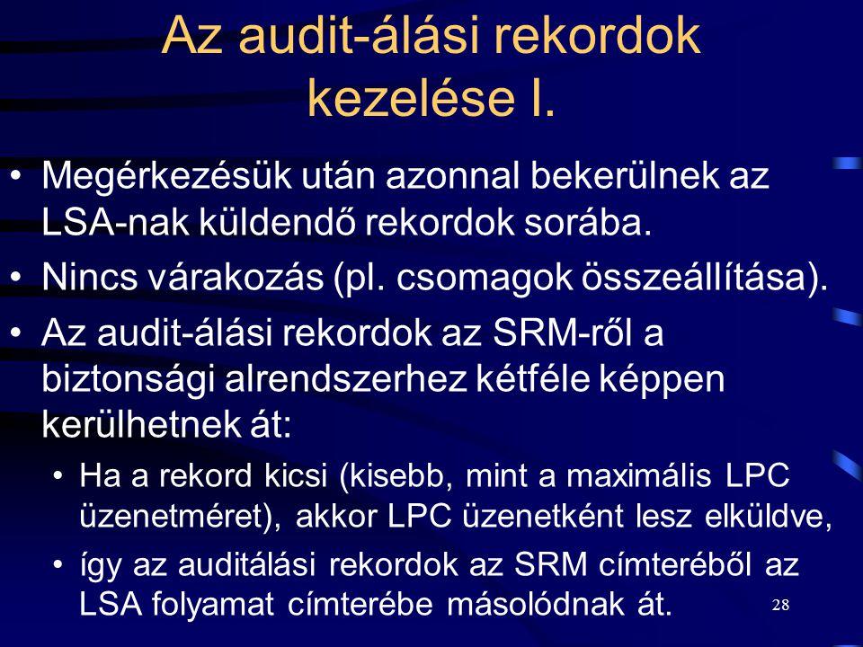Az audit-álási rekordok kezelése I.