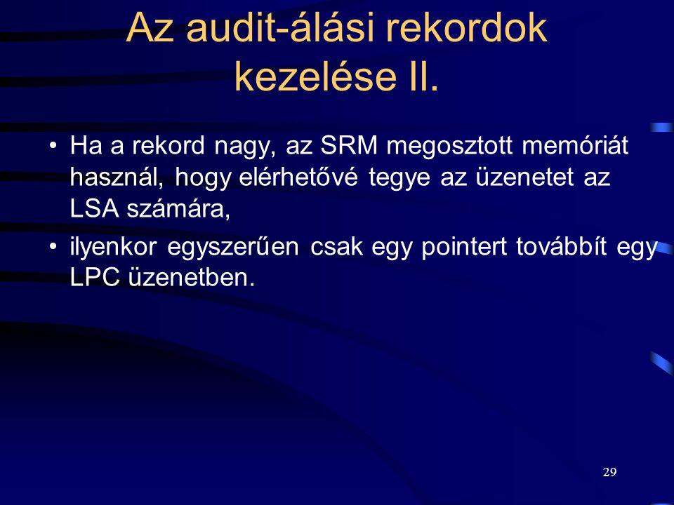 Az audit-álási rekordok kezelése II.