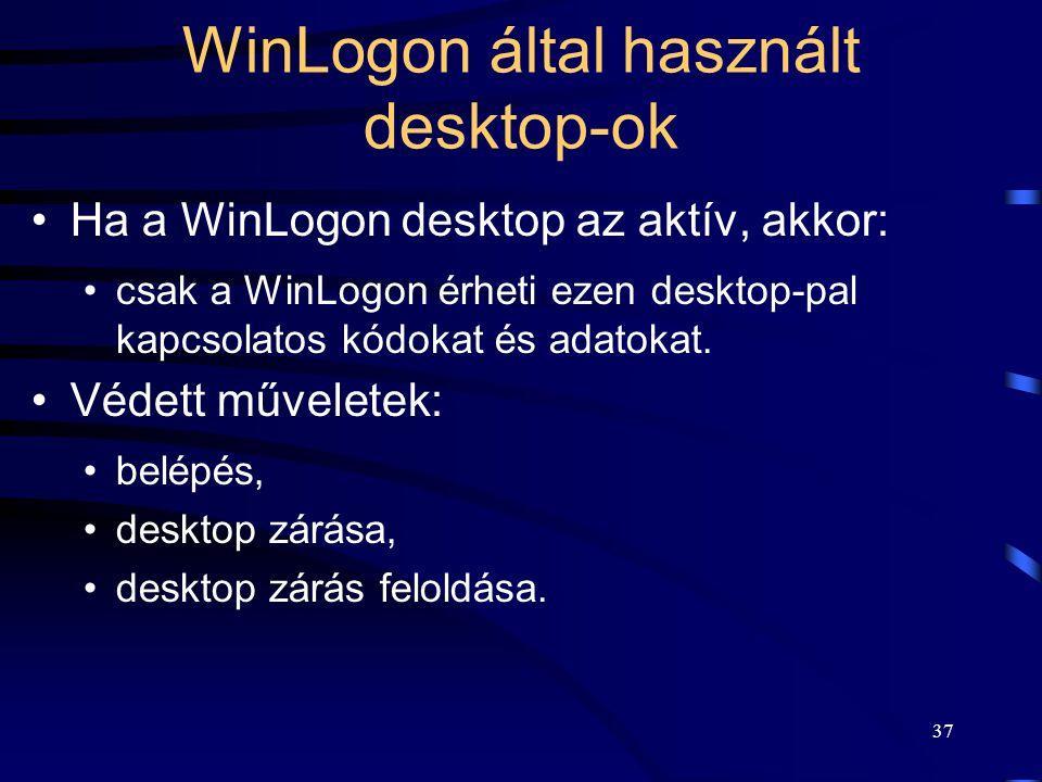 WinLogon által használt desktop-ok