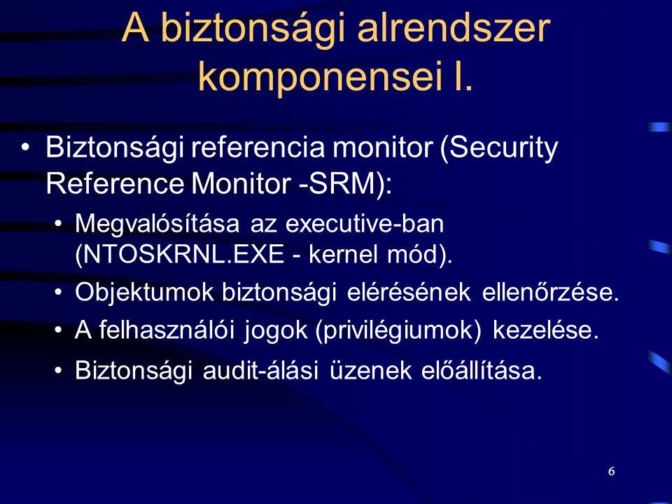 A biztonsági alrendszer komponensei I.