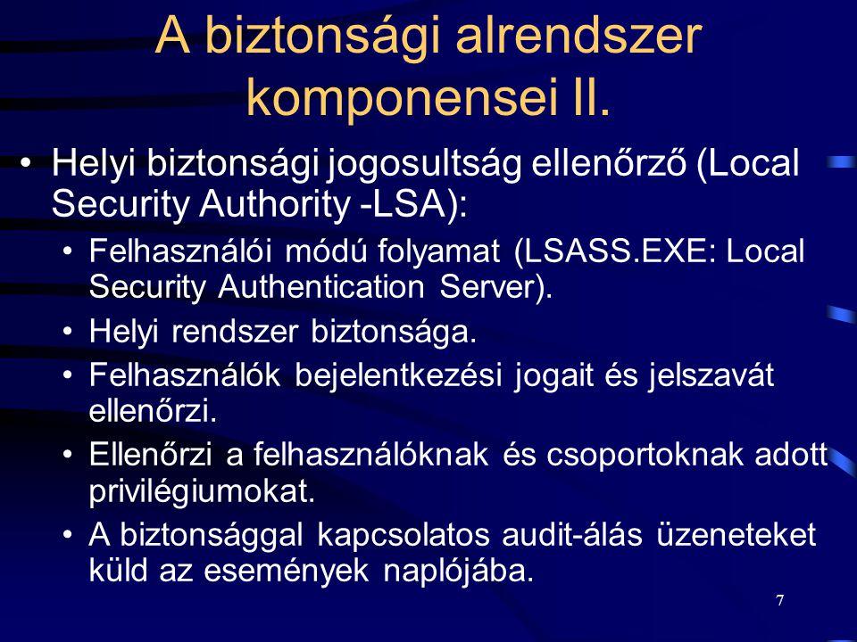 A biztonsági alrendszer komponensei II.