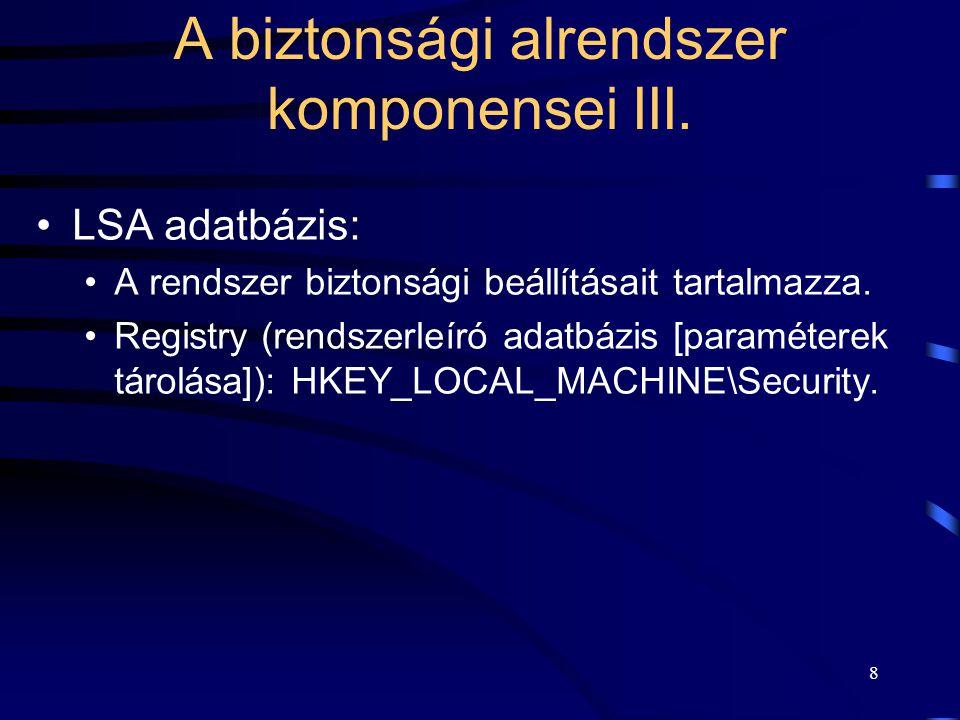 A biztonsági alrendszer komponensei III.