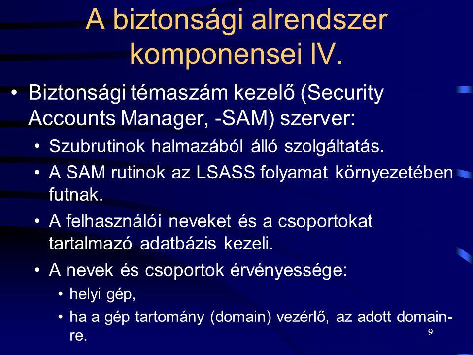 A biztonsági alrendszer komponensei IV.