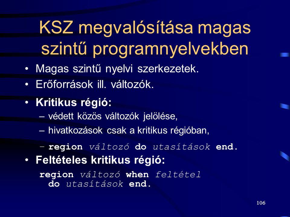 KSZ megvalósítása magas szintű programnyelvekben