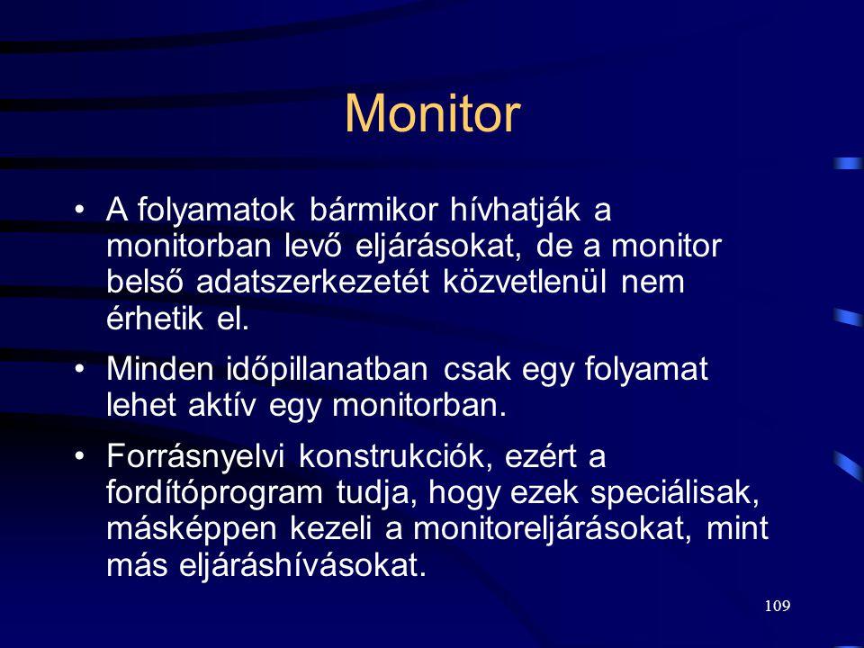 Monitor A folyamatok bármikor hívhatják a monitorban levő eljárásokat, de a monitor belső adatszerkezetét közvetlenül nem érhetik el.