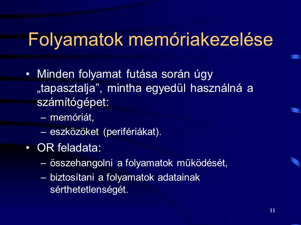 Folyamatok memóriakezelése