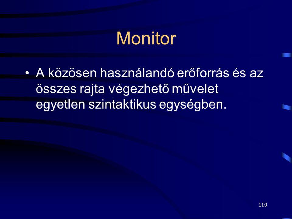 Monitor A közösen használandó erőforrás és az összes rajta végezhető művelet egyetlen szintaktikus egységben.