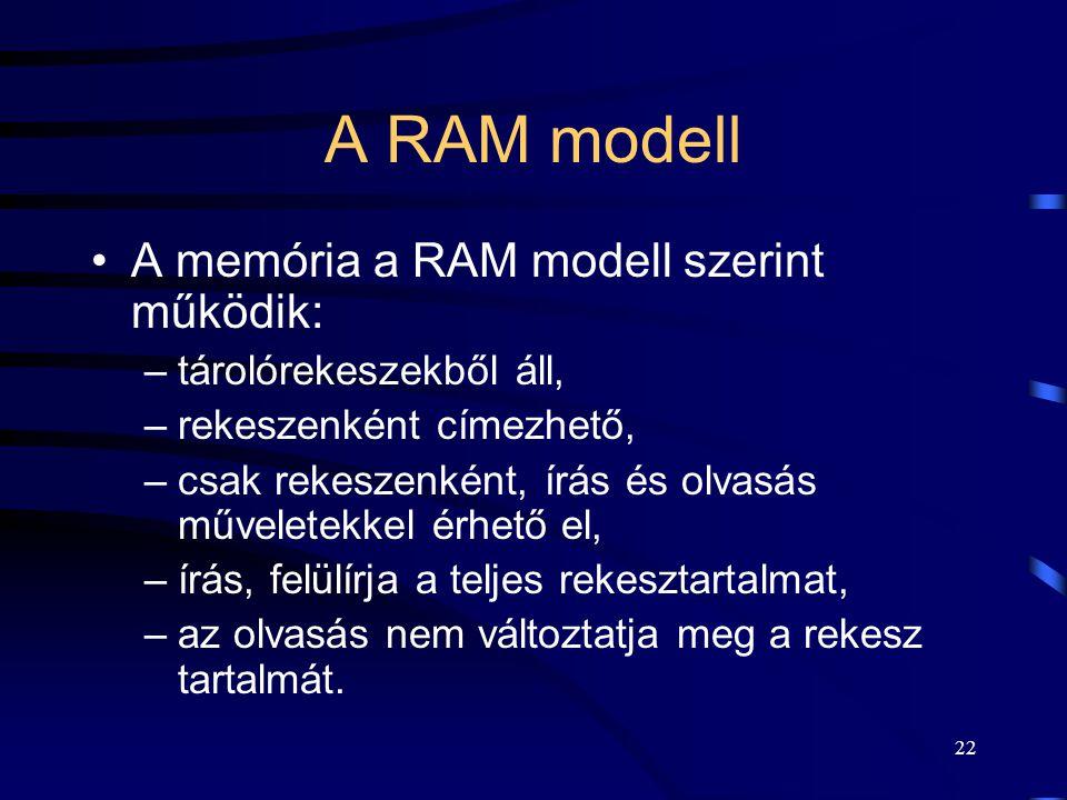 A RAM modell A memória a RAM modell szerint működik: