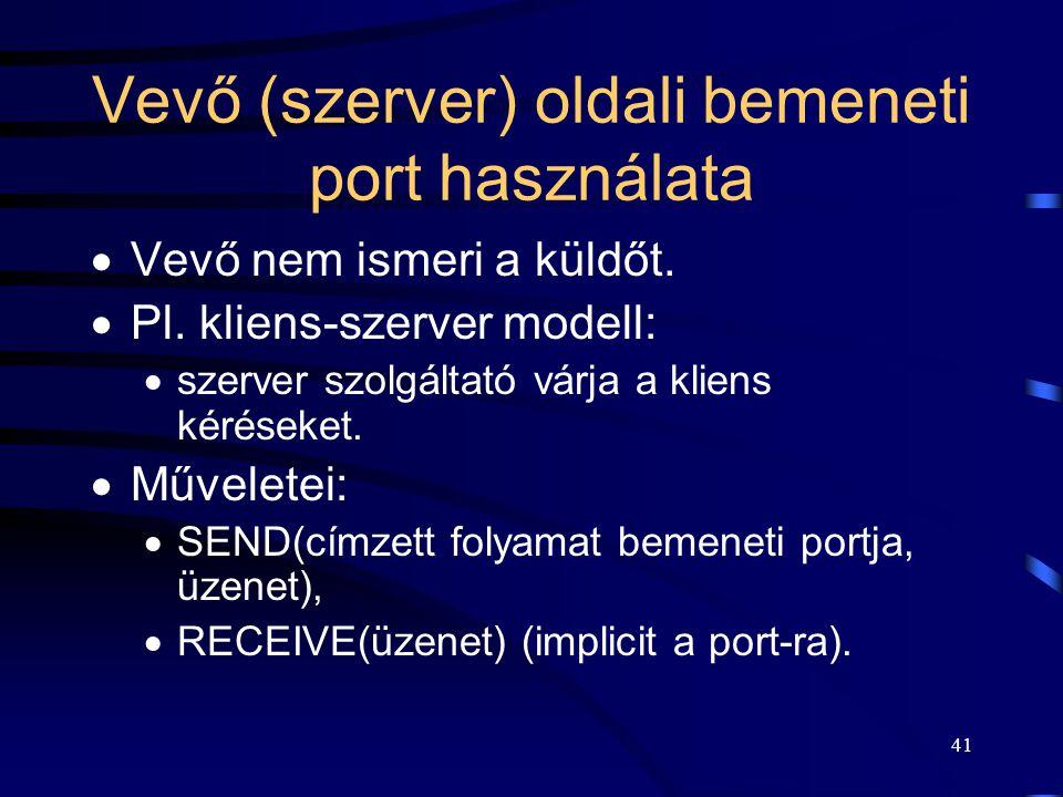 Vevő (szerver) oldali bemeneti port használata