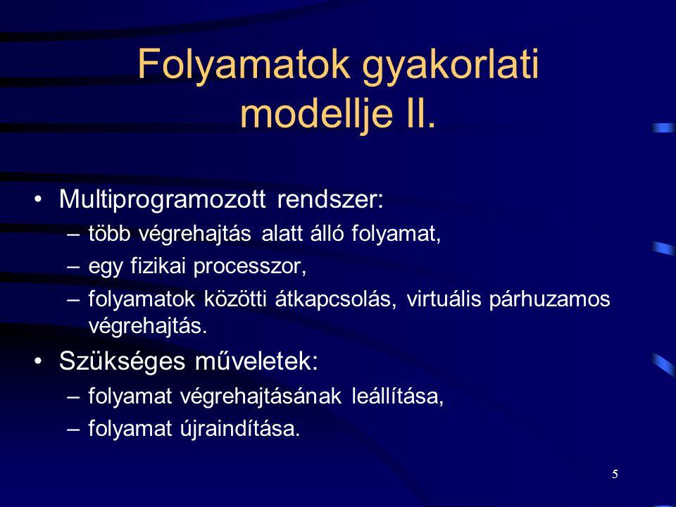 Folyamatok gyakorlati modellje II.
