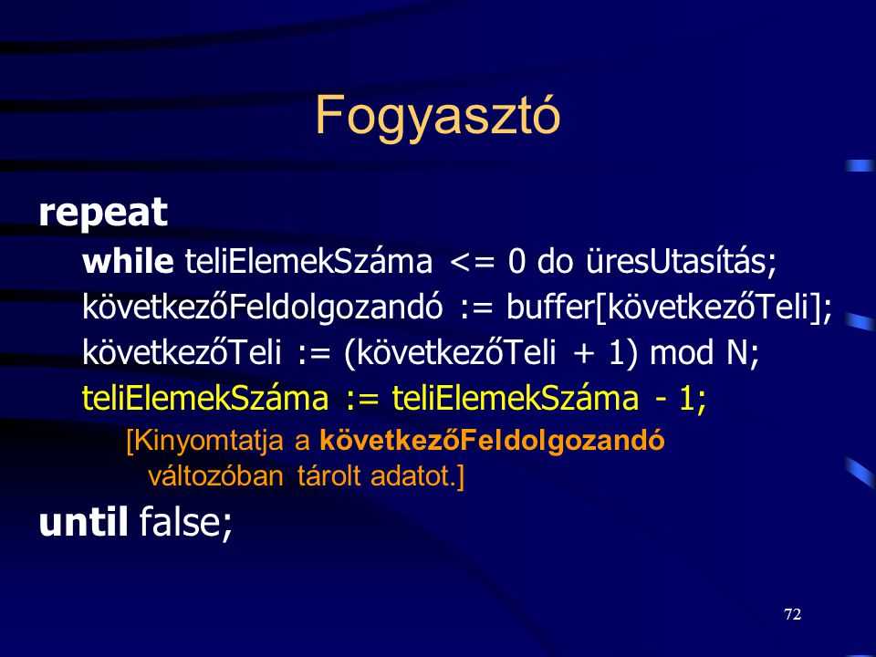 Fogyasztó repeat until false;