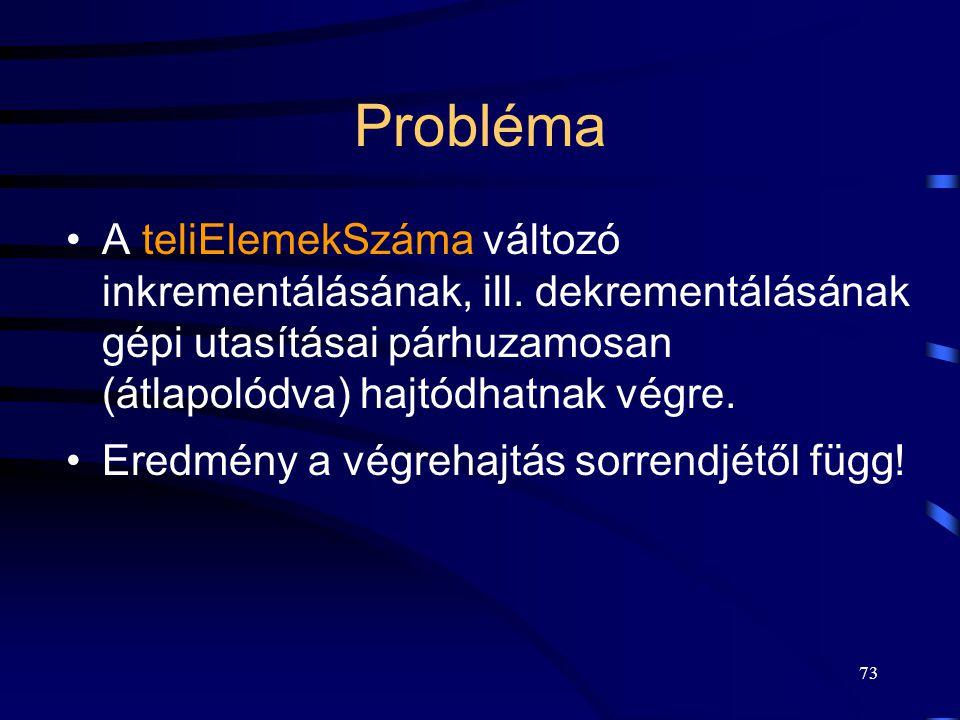 Probléma A teliElemekSzáma változó inkrementálásának, ill. dekrementálásának gépi utasításai párhuzamosan (átlapolódva) hajtódhatnak végre.