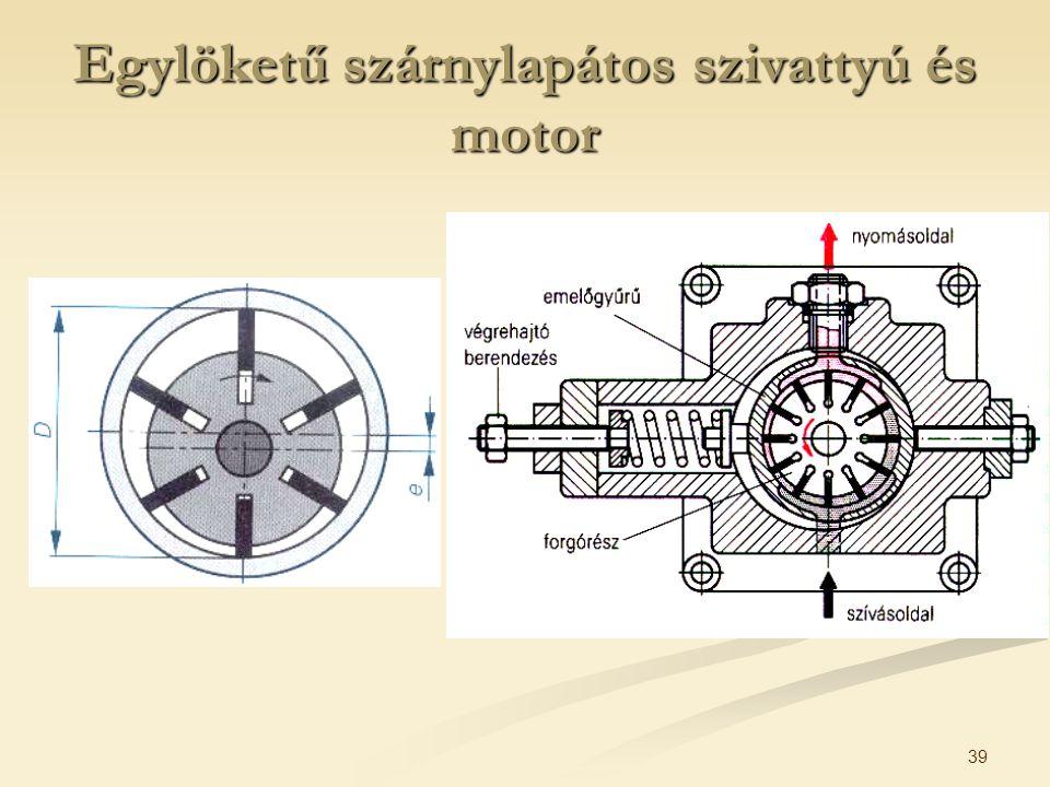 Egylöketű szárnylapátos szivattyú és motor