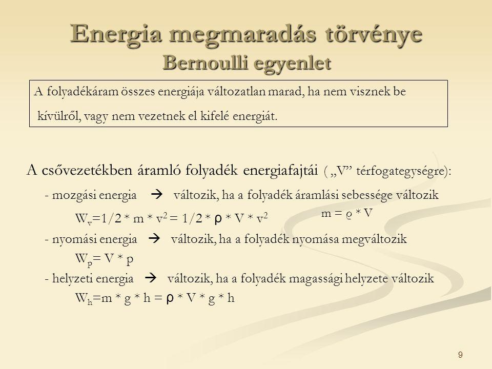 Energia megmaradás törvénye Bernoulli egyenlet