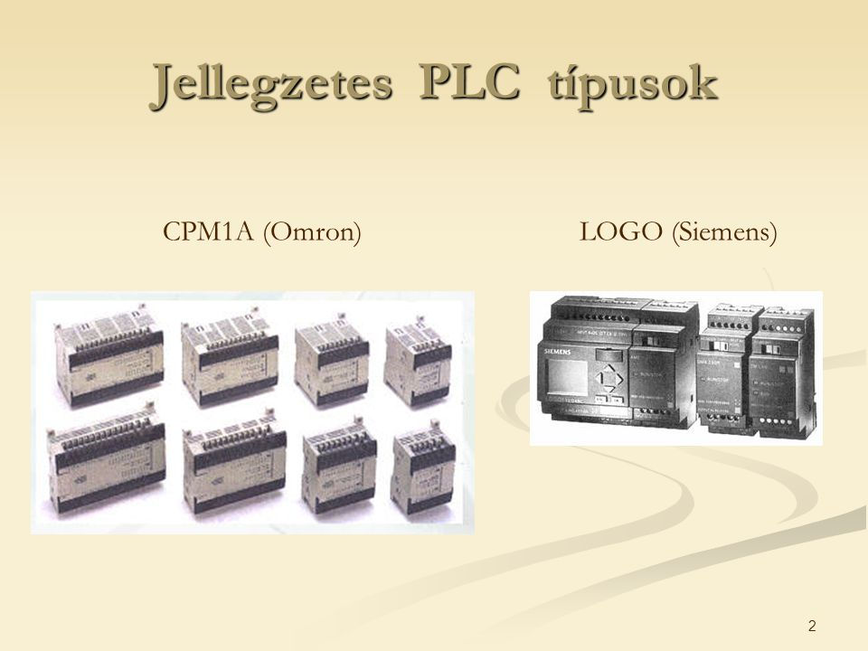 Jellegzetes PLC típusok
