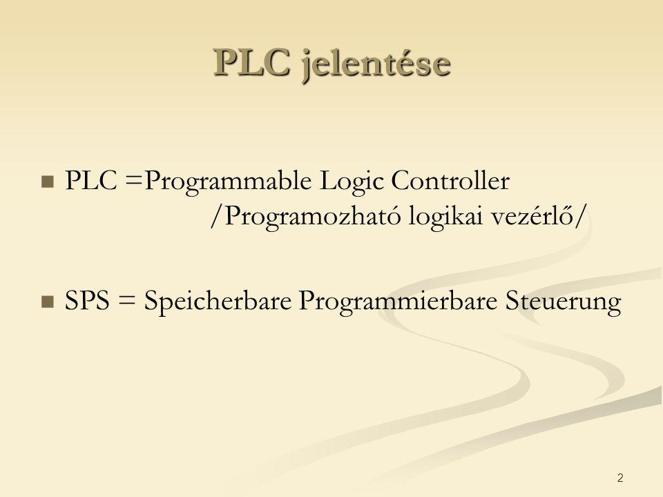 PLC jelentése PLC =Programmable Logic Controller /Programozható logikai vezérlő/