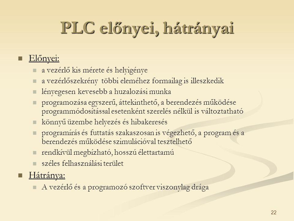PLC előnyei, hátrányai Előnyei: Hátránya: