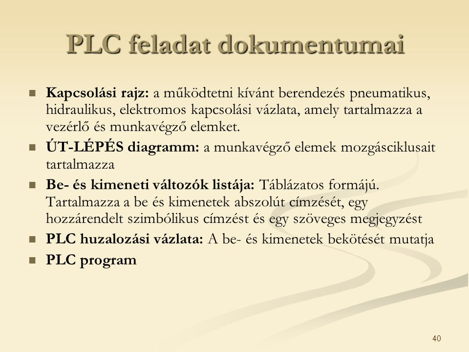 PLC feladat dokumentumai