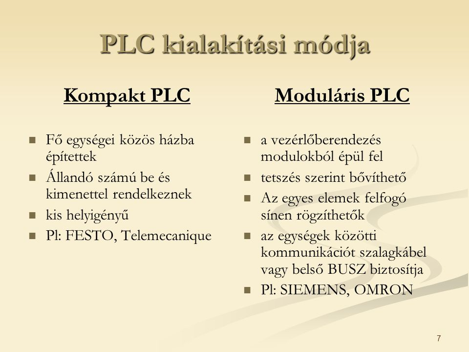 PLC kialakítási módja Kompakt PLC Moduláris PLC