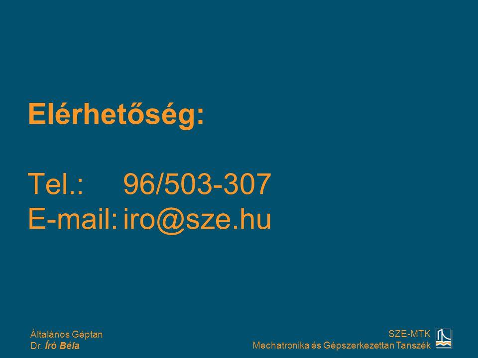 Elérhetőség: Tel.: 96/503-307 E-mail: iro@sze.hu