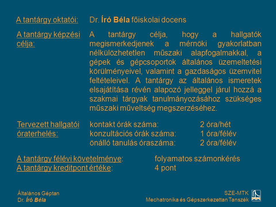 A tantárgy oktatói: Dr. Író Béla főiskolai docens. A tantárgy képzési célja: