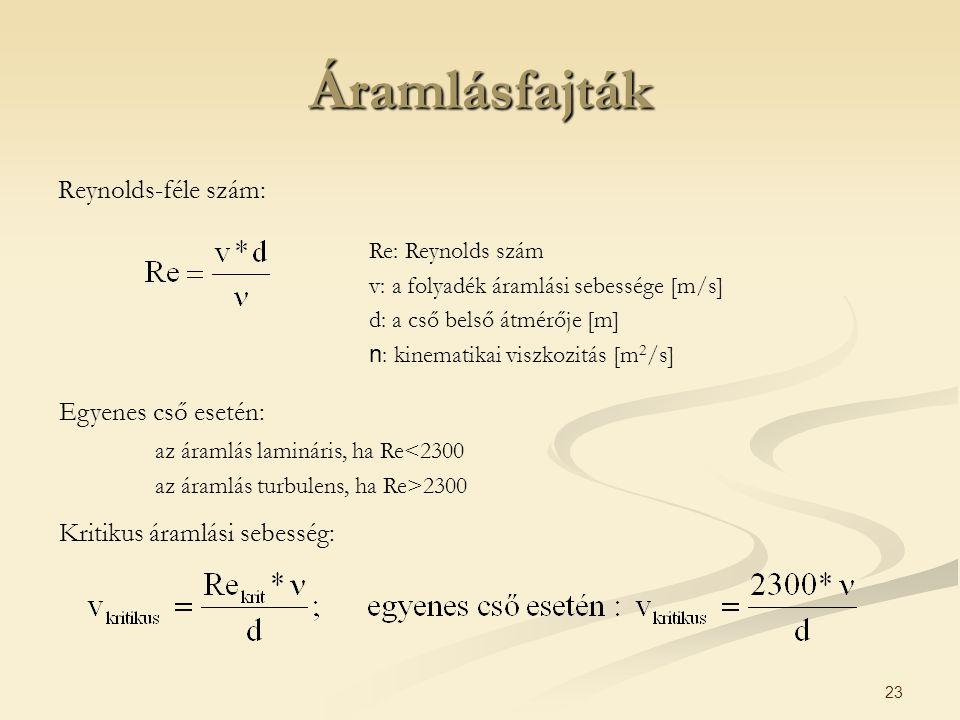 Áramlásfajták Reynolds-féle szám: Egyenes cső esetén: