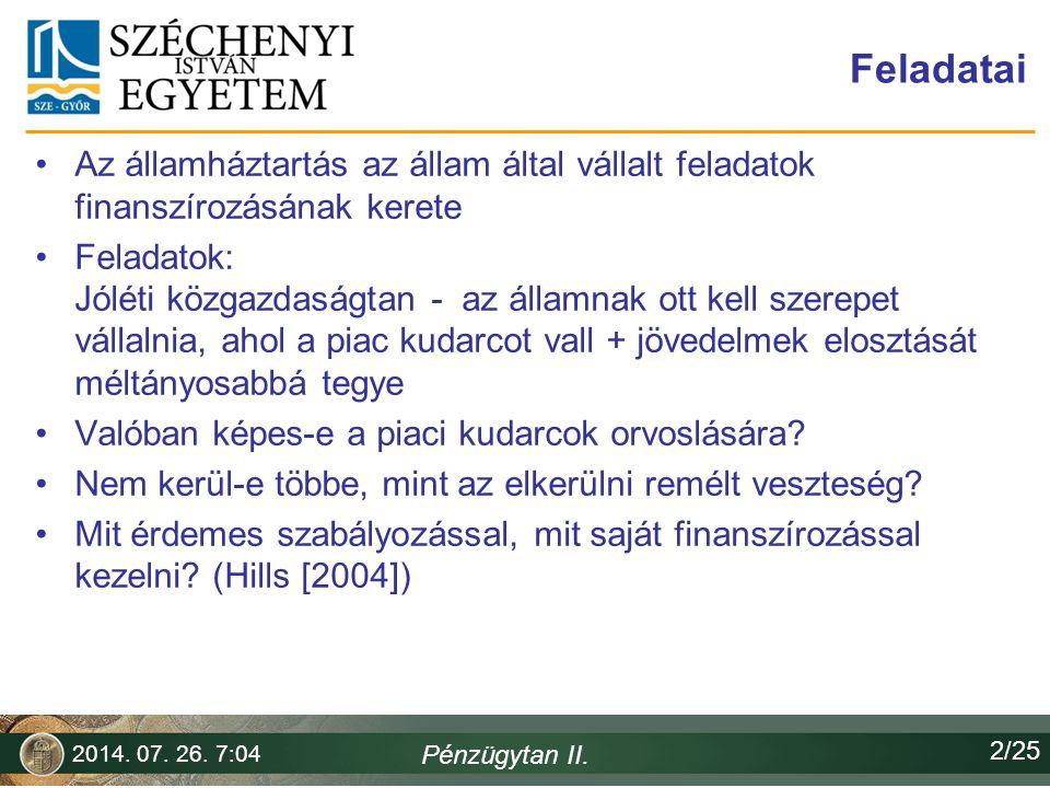 Horváth Ferenc 2017.04.04. Feladatai. Az államháztartás az állam által vállalt feladatok finanszírozásának kerete.
