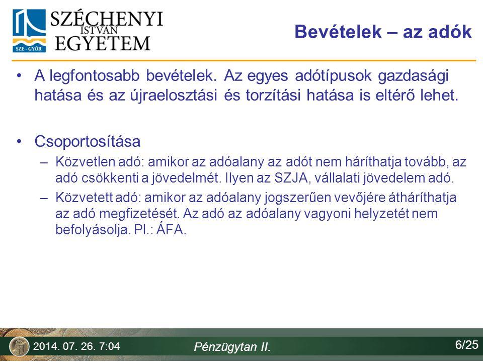 Horváth Ferenc 2017.04.04. Bevételek – az adók.