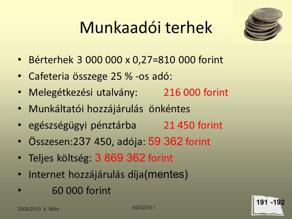 Munkaadói terhek Bérterhek 3 000 000 x 0,27=810 000 forint