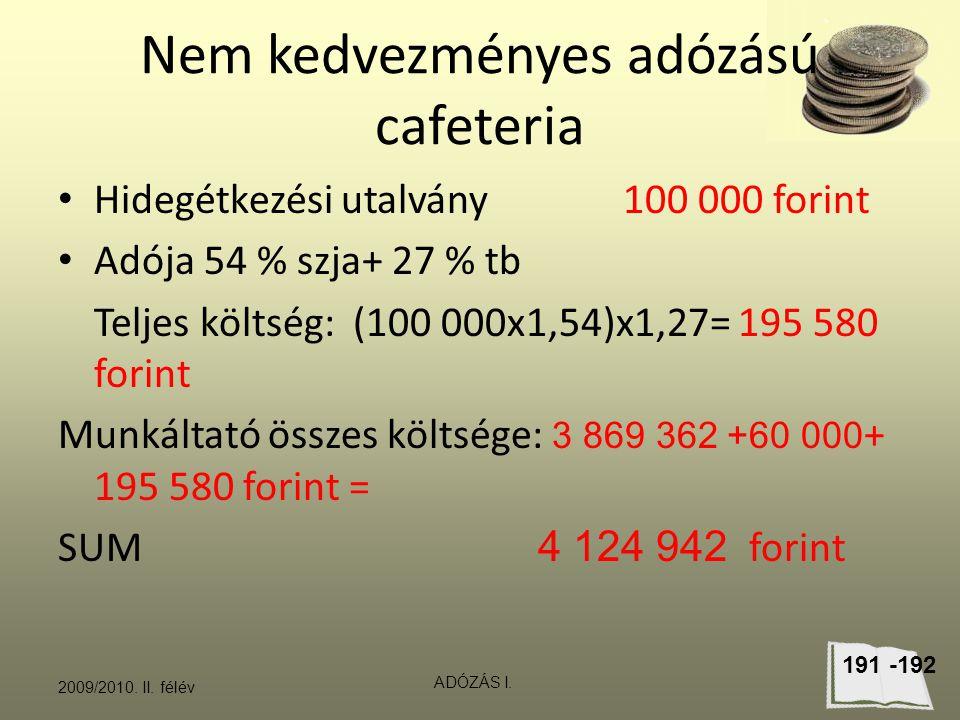 Nem kedvezményes adózású cafeteria