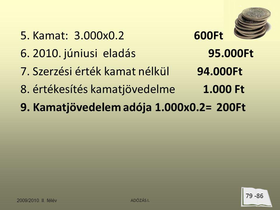 7. Szerzési érték kamat nélkül 94.000Ft