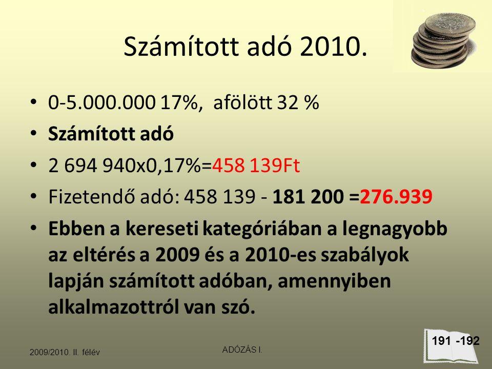 Számított adó 2010. 0-5.000.000 17%, afölött 32 % Számított adó