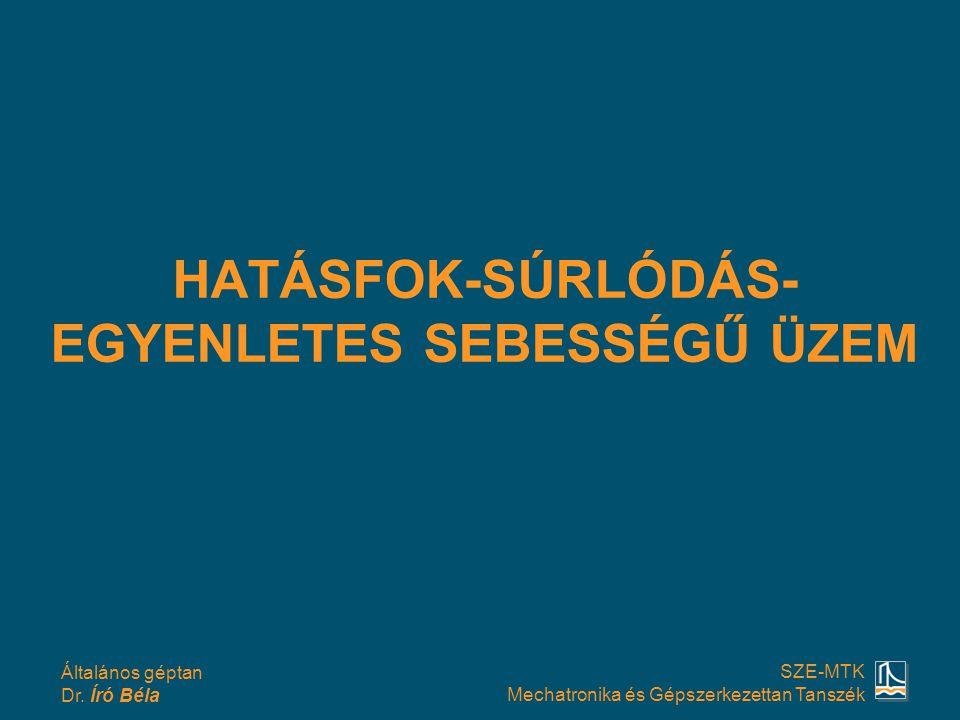 HATÁSFOK-SÚRLÓDÁS-EGYENLETES SEBESSÉGŰ ÜZEM