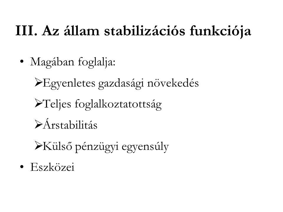 III. Az állam stabilizációs funkciója