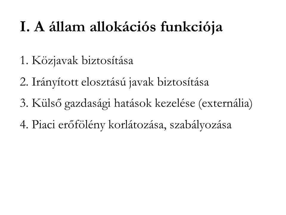 I. A állam allokációs funkciója